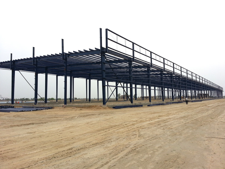structural steel frame of industrial plant building