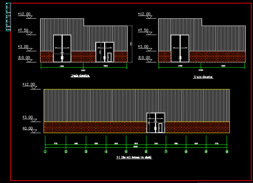 Axis elevation drawing of steel structure workshop design