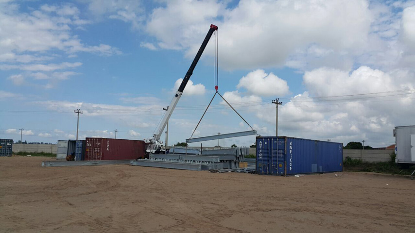 unloading steel structure of Prefabricated Workshop Building