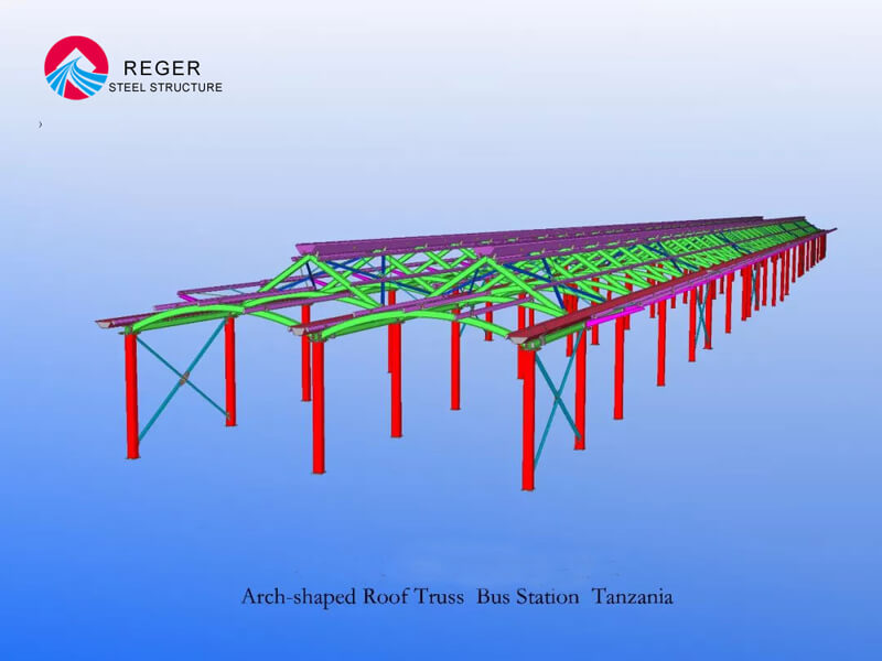 Arch-shaped Roof Truss Bus Station 3D Drawing Design